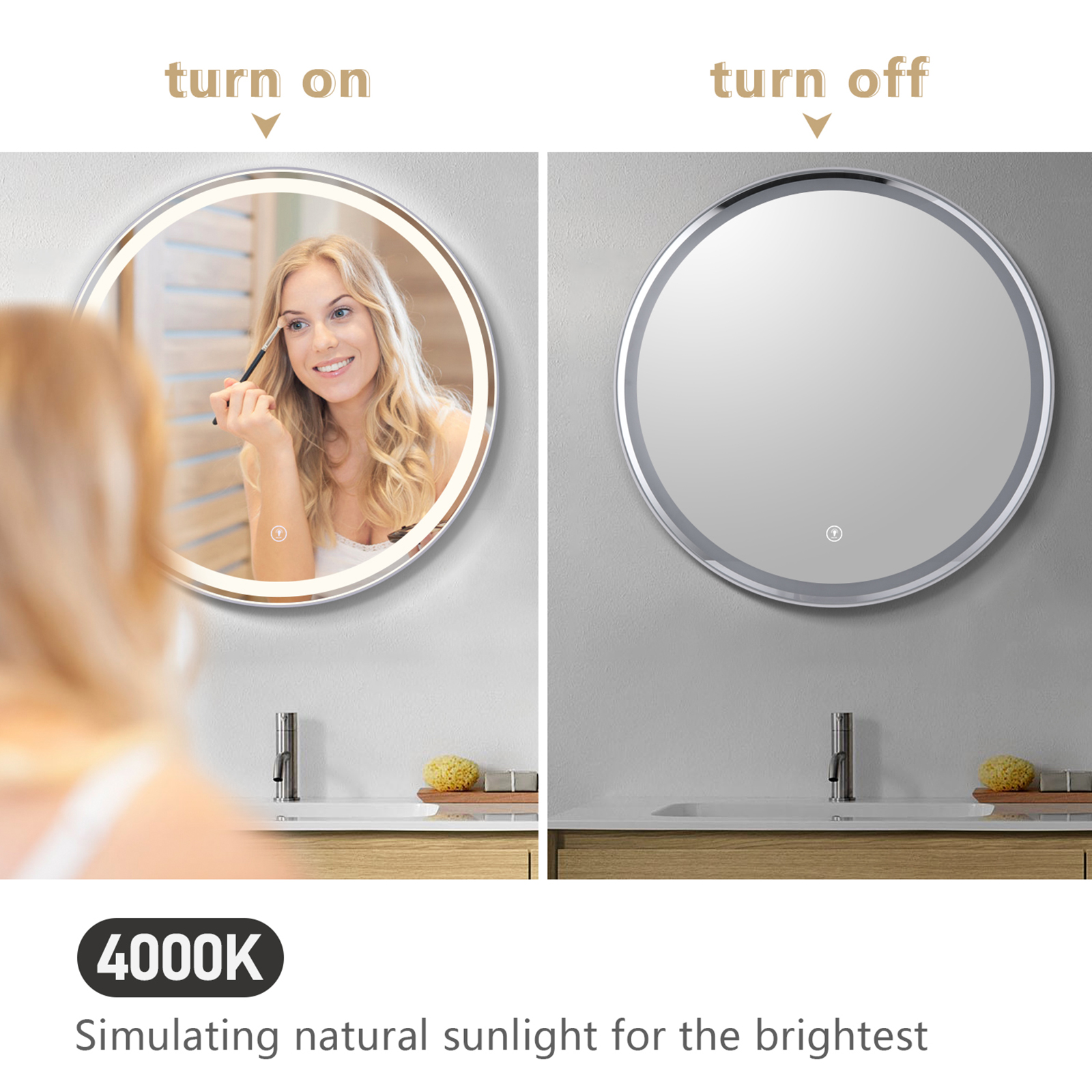 OOWOLF 23″ LED Mirror, Round Bathroom Vanity Mirror with Dimming Function Anti-Fog