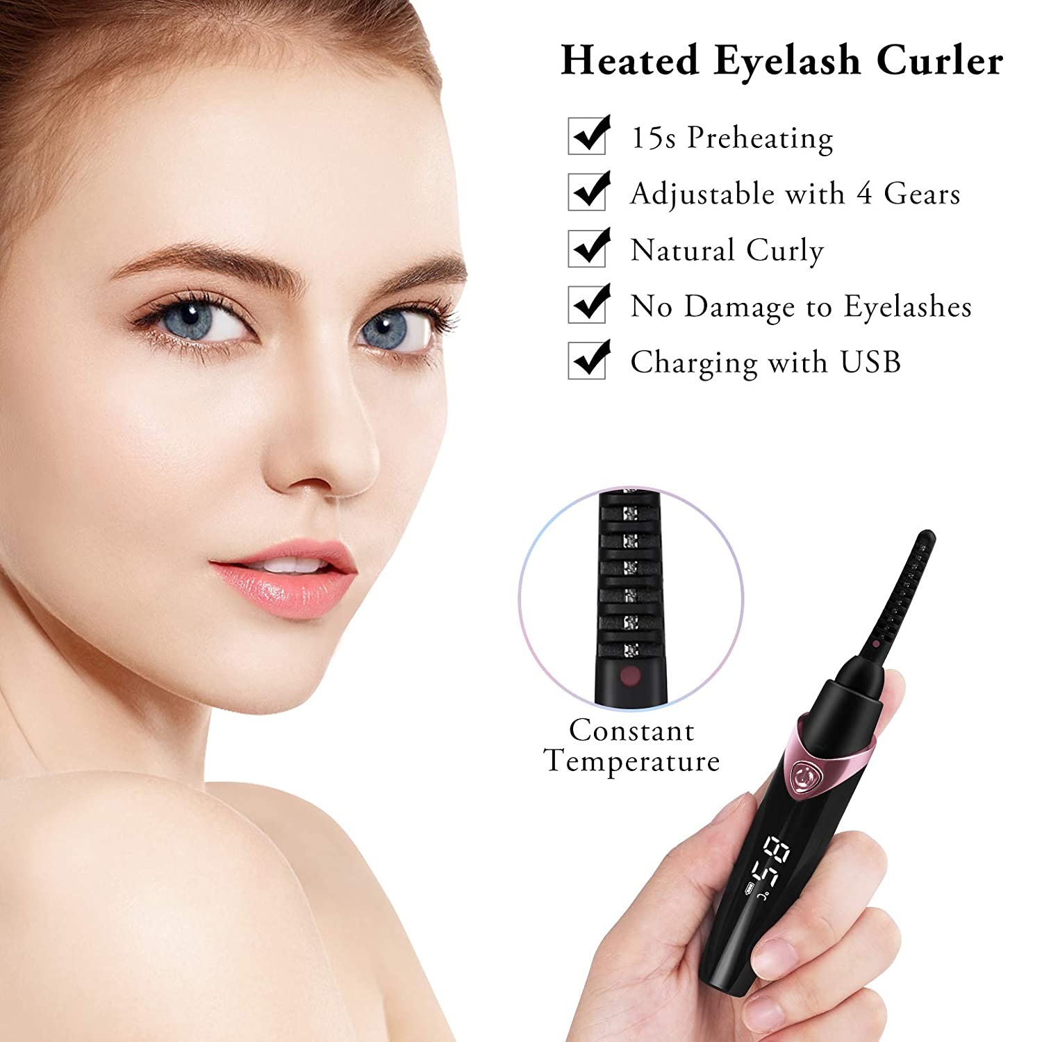 OOWOLF Heated Eyelash Curler, USB Rechargeable 4 Temperature Gears Long Lasting Eyelashes Curl Tool